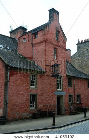 An external view of a medieval building in the old town of Dunfermline