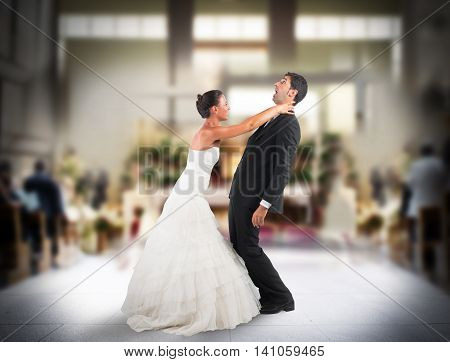 Angry wife strangles frightened groom in church