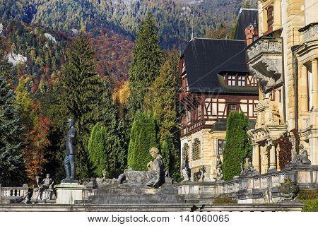 Peles Castle, Romania. Famous royal castle and garden in Sinaia in autumn