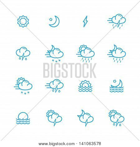 meteo blue line icons set of 16