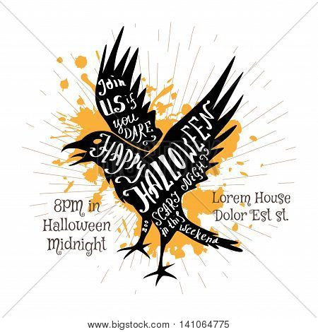 Halloween invitation banner with black shape of flying crow and calligraphic holiday wishes. Halloween retro hand lettering poster.