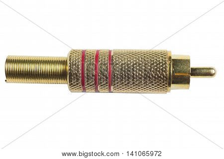 RCA gold plugs cable isolated on white background