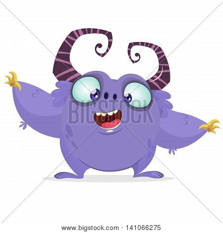 Vector cartoon purple monster with big horns. Halloween furry violet monster waving his hands. Monster game character