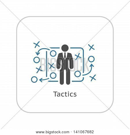 Tactics Icon. Flat Design. A man with strategy board. App Symbol or UI element.