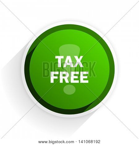 tax free flat icon with shadow on white background, green modern design web element