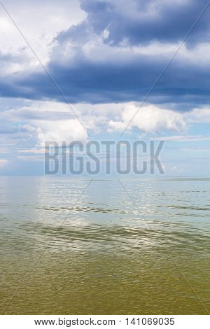 Azov Sea Waterscape With Green Water And Blue Sky