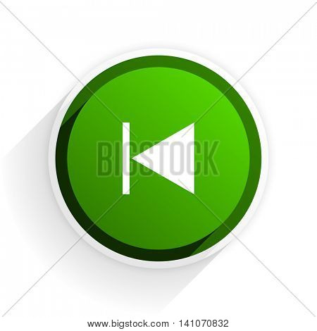 prev flat icon with shadow on white background, green modern design web element