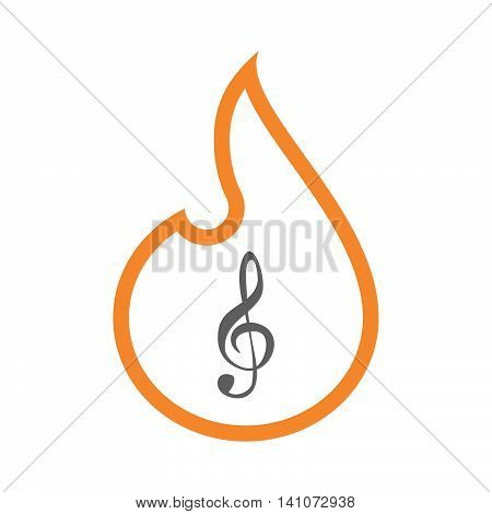 Isolated Line Art Flame Icon With A G Clef
