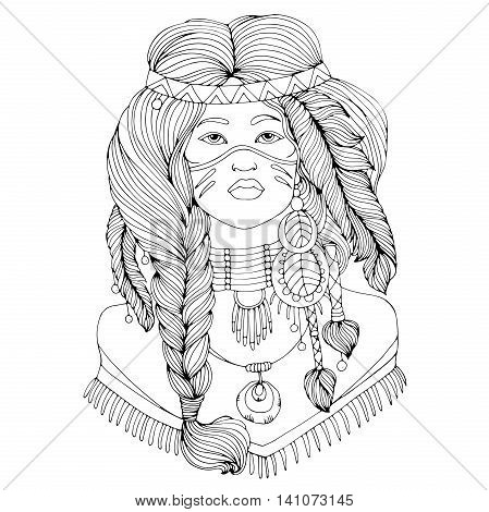 Vector drawing portrait of a beautiful young Native American girl with two braided pigtails and feathers in their hair. . Native americans, indian woman. On isolated white background