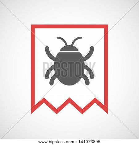 Isolated Line Art Ribbon Icon With A Bug