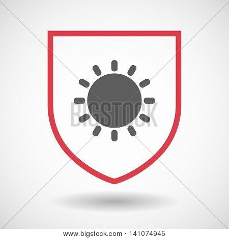 Isolated Line Art Shield Icon With A Sun