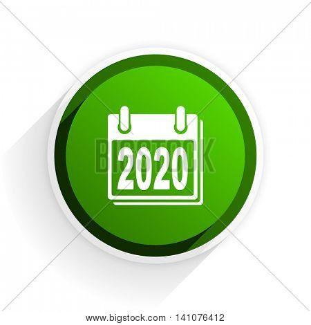 new year 2020 flat icon with shadow on white background, green modern design web element