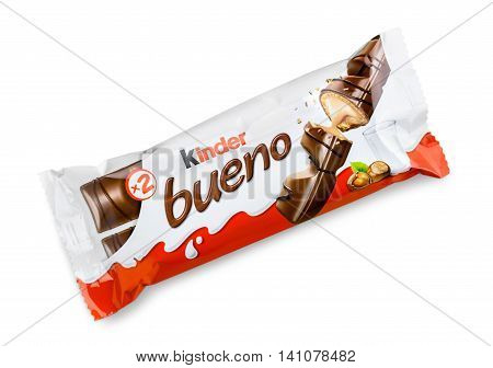 Closeup of Kinder Bueno Chocolate Candy Bar made by Ferrero isolated on white background
