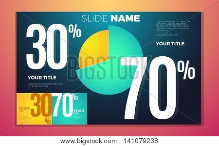 Bright contrast colors infographic set with pie chart boxes and numbers. Vector illustration with 70 and 30 percent