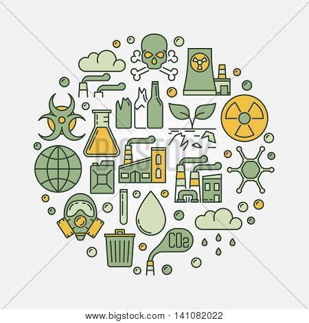Environmental pollution round sign. Vector colorful illustration of soil and radioactive contamination, air and water pollution