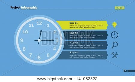 Clock infographic. Element of presentation, step diagram, chart. Concept for business templates, infographics, reports. Can be used for topics like business strategy, marketing analysis, planning