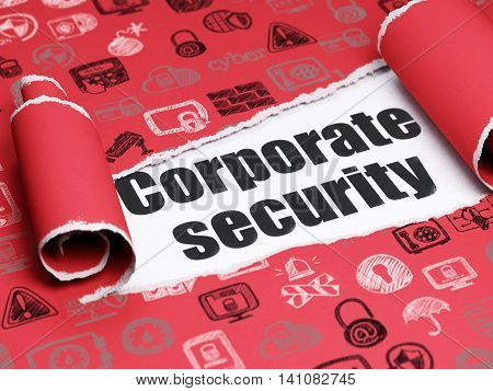 Security concept: black text Corporate Security under the curled piece of Red torn paper with  Hand Drawn Security Icons, 3D rendering