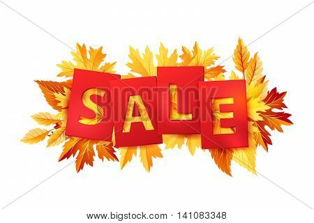 Autumn sale tags with colorful fall leaves. Isolated vector illustration.