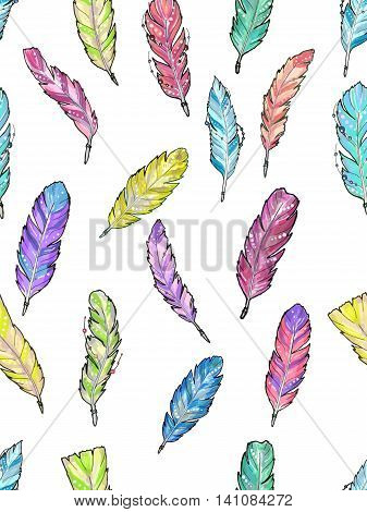 Seamless pattern with watercolor feathers. Set of bright colorful feathers for any print or tattoo. Boho feathers hipster aztec style.