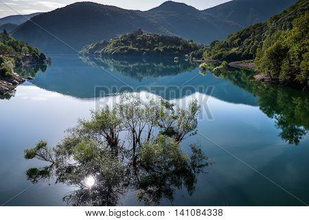 Garfagnana Tuscany Italy - Vagli di Sotto village on Lago di Vagli Vagli lake
