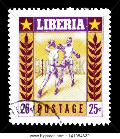 LIBERIA - CIRCA 1955 : Cancelled postage stamp printed by Liberia, that shows boxing.