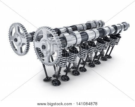 Camshaft and valve car on white background (done in 3d rendering)