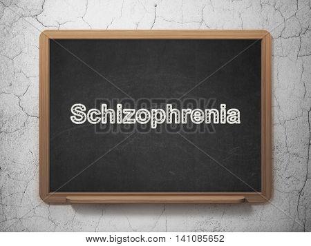 Health concept: text Schizophrenia on Black chalkboard on grunge wall background, 3D rendering