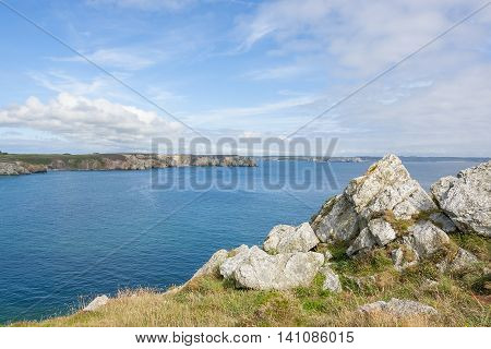 coastal scenery at the crozon peninsula in Brittany poster