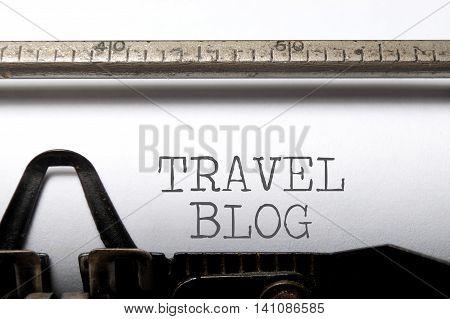 Travel blog printed on an old typewriter