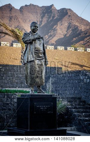 SAO PEDRO, CAPE VERDE - DECEMBER 12 2015: Statue of Cesaria Evora at the International Airport of Sao Vicente Island