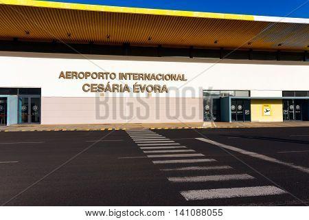 SAO PEDRO, CAPE VERDE - DECEMBER 12 2015: International Airport of Cesaria Evora on Sao Vicente Island