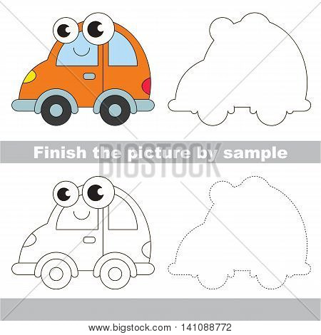 Drawing worksheet for children. Easy educational kid game. Simple level of difficulty. Finish the picture and draw the cute Automobile
