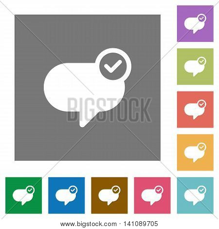 Message sent flat icon set on color square background.