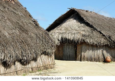 Central America Panama Traditional house kuna indians with the roof thatched on a Caledonia island on the San Blas archipelago
