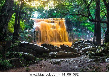 Orange Waterfall In Thailand