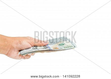 Woman left hand holds dollar money cash isolated on white background - business concept money exchange offer deal pay payment