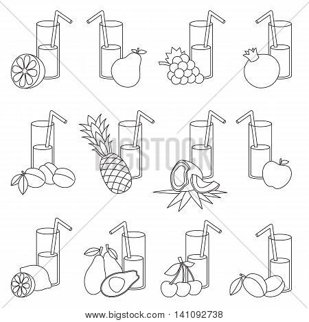 Set of fruit juices to be colored. Coloring book to educate kids. Learn colors. Visual educational game. Easy kid gaming and primary education. Simple level of difficulty. Coloring pages.