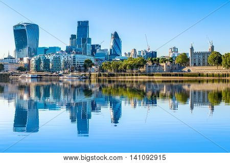 Cloudless Day At Financial District Of London