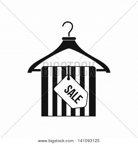 Hanger with sale tag icon in simple style isolated on white background. Sellout symbol