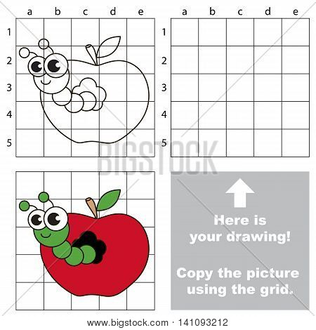 Copy the picture using grid lines. Easy educational game for kids. Simple kid drawing game with Apple worm.