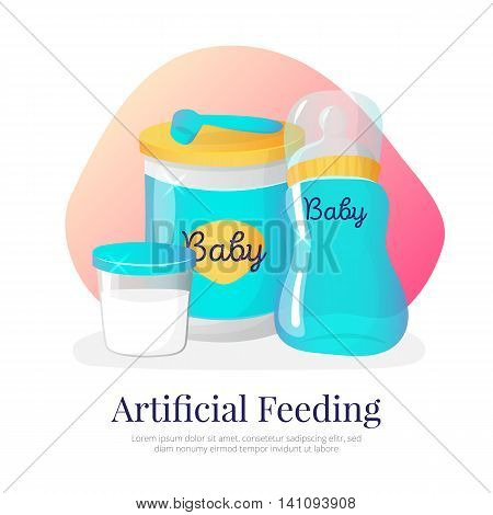 Vector artificial feeding goods illustration. Newborn accessories in cartoon style. Feeding formula, milk bottle, container.