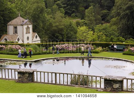 CONWY, WALES, JUNE 27. Bodnant Garden on June 27, 2016, near Conwy, Wales. Visitors to Bodnant Garden near Conwy Wales enjoy the Lily Ponds and Terraces.