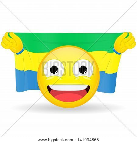 Emoji fan holds in hands flag behind his head. Gabonese flag. Fan cares for his country. Glory spectator bawl emotion. Exult emoticon. Buff of sports games smile vector illustration.