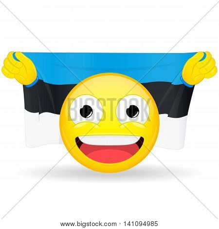 Emoji fan holds in hands flag behind his head. Estonian flag. Fan cares for his country. Glory spectator bawl emotion. Exult emoticon. Buff of sports games smile vector illustration.