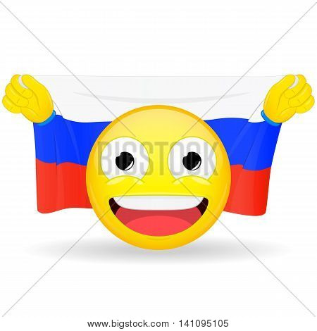 Emoji fan holds in hands flag behind his head. Russian flag. Fan cares for his country. Glory spectator bawl emotion. Exult emoticon. Buff of sports games smile vector illustration.
