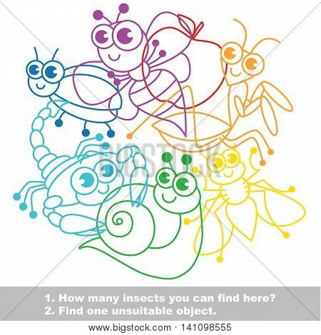 Mishmash of funny insects. The colorful set in vector. Find all hidden objects on the picture. Find one unfit object. Visual game for children. Easy educational kid game. Simple level of difficulty.