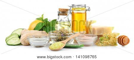Natural ingredients for skin care on white background
