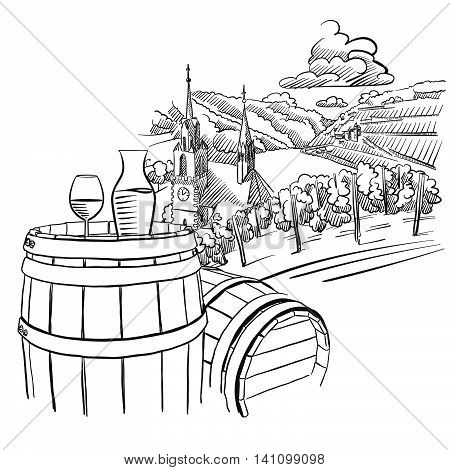 Glas of Wine on Barrel in Front of german Vineyard Landscape Hand drawn Vector Artwork