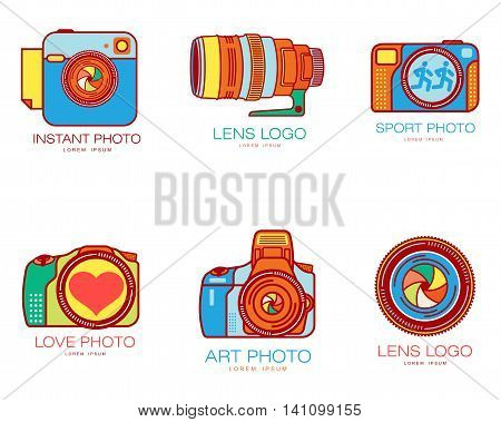 Set of colorful camera logo templates. illustration isolated on white background. Great multicolored camera logo templates for photographers and photo studios