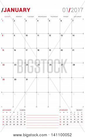 January 2017. Vector Print Template. Monthly Calendar Planner For 2017 Year. Week Starts Sunday. 3 M